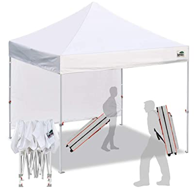 Eurmax Smart 10'x10' Pop up Canopy Tent Sport event,Outdoor Festival Tailgate Event Vendor Craft Show Canopy Instant Shelter with 1 Removable Sunwall and Backpack Roller Bag(White): Sports & Outdoors