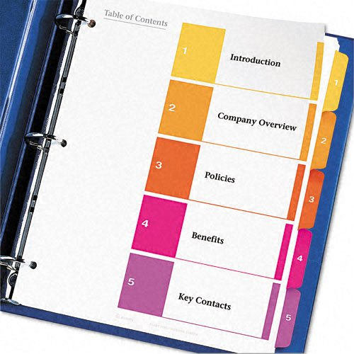 Avery ready index table of contents dividers 5 tab set 6 for Avery table of contents template 10 tab