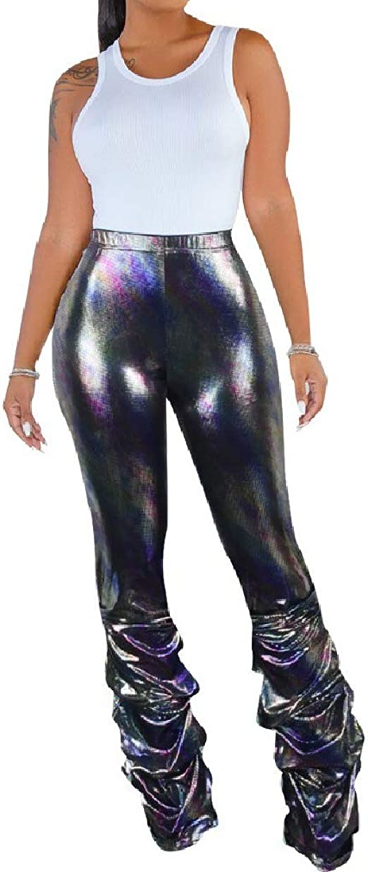 Nicellyer Women's Body-Con Metallic Boot Cut Sexy Pleated Clubwear Shiny Trousers Pants