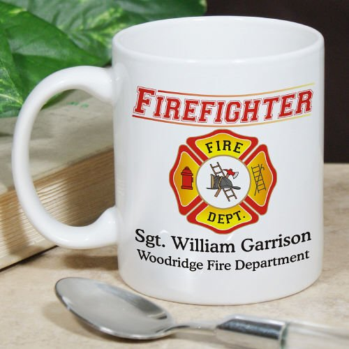 Personalized Firefighter White Coffee Mug, Ceramic, 11 oz.