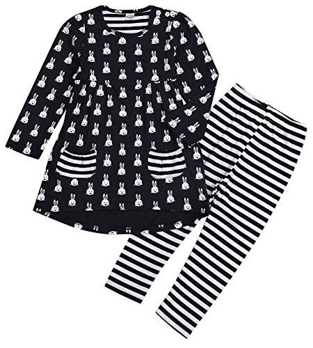 Price comparison product image 2 Pcs Little Girls Long Sleeve Cute Rabbit Clothing Set Top+Legging Outfit (Navy Blue, 2 T)