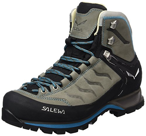 Salewa Women's Mountain Trainer Mid Leather Alpine Trekking Boot, Pewter/Ocean, 8.5 by Salewa