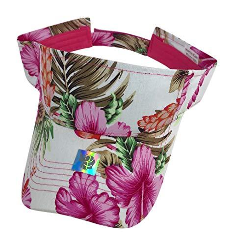 Floral Print Visor Hats - Summer Gold Beach Visor Hat (Pink Floral - Floral Visor
