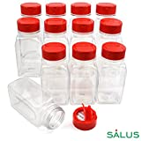 SALUSWARE - 12 PACK - 9.5 Oz with Red Cap –Plastic Jars Bottles Containers – Perfect for Storing Spice, Herbs and Powders – Lined Cap - Safe Plastic – PET - BPA free - Made in the USA