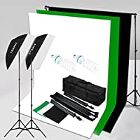 CRAPHY 2x125W 5500K Photography Studio Soft Box Lights Continuous Lighting Kit for Photo Video (20x28 Softbox + 3 Muslin Backdrops (White Black Green) + Background Support Stand (10x6.5ft)