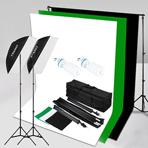 CRAPHY 2x125W 5500K Photography Studio Soft Box Lights Continuous Lighting Kit for Photo Video (20×28″ Softbox + 3 Muslin Backdrops (White Black Green) + Background Support Stand (10×6.5ft)