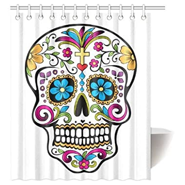 CozyBath Dia De Los Muertos Waterproof Polyester Fabric 60 (w) x 72 (h) Shower Curtain and Hooks