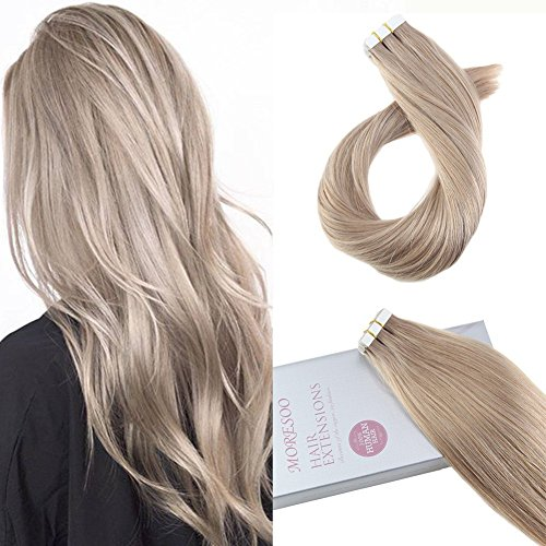 Moresoo 20 Inch Tape in Hair Extensions Ash Blonde Color #18 Adhesive Hair Extensions Soft and Thick Remy Human Hair Skin Weft Glue on Hair Extensions 20pcs/50g 100 Brazilian Hair