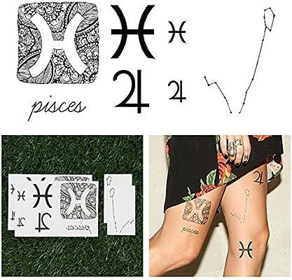 Tatuajes Temporales Tattify - Astrología - Piscis (juego de 14 ...