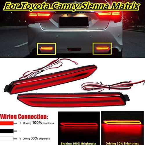 Gift-4Car - For Toyota Camry for Matrix Sienna Venza Avalon for Lexus GX470 RX300 2 Pcs Led Car Rear Bumper Reflector Tail Brake Light Bar
