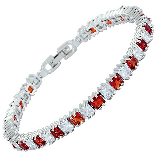 RIZILIA Ice Cube Princess Cut Simulated Red Ruby CZ 18K White Gold Plated Tennis Bracelet, 7