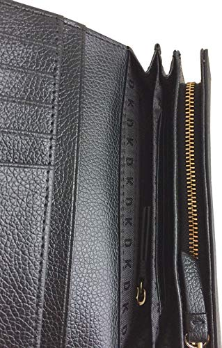 Leather in DKNY Wallet Purse Carryall Pebbled Black Medium xAvWUqw84W