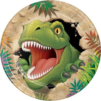 T-Rex Dinosaur Theme Party Supplies Pack (Serves-16) Plates Napkins Cups and Tablecloth - Dino Blast Party Supply Tableware Set Kit Includes Birthday Candles by Lobyn Value Pack (Image #1)
