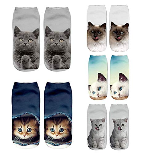 Womens Girls 3D Kitty Cat Novelty Colorful Funny Ankle Socks, Crazy Cute Cartoon Low Cut Socks Value Pack