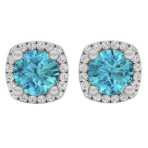 10K White Gold 5 MM Each Round Cut Blue Topaz & White Diamond Ladies Halo Stud Earrings