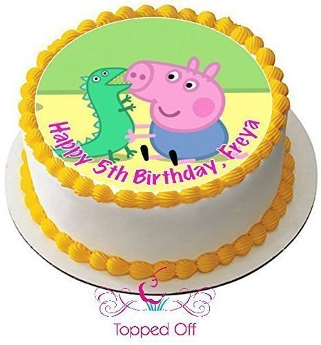 George Pig & Dinosaur (19cm) redondo personalizado fondant ...
