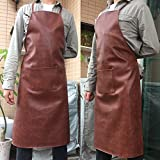 Vinyl Apron Waterproof Oil and Stain Proof, alkali and acid resistance Leather Apron, Specially made for Male Chefs and Women, Kitchen Lawn Cleaning and Laboratory Personnel. 1 Pack (Brown)