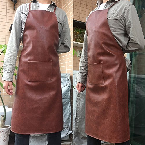 Vinyl Apron Waterproof Oil and Stain Proof, alkali and acid resistance Leather Apron, Specially made for Male Chefs and Women, Kitchen Lawn Cleaning and Laboratory Personnel. 1 Pack (Brown) by Kang Yun