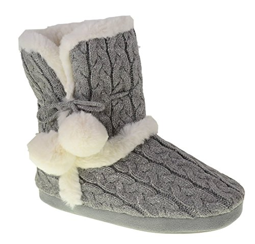 (Chinese Laundry Womens Bootie Slipper, with Pom Poms, Plush & Knit Slipper Bootie with Memory Foam, Grey, Size Large 9/10)