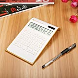 Calculator Caveen Slim Business/Home Desktop Calculator,Electronic Solar Dual Powered Basic Calculator,10-Digits Standard Function Financial Calculator White