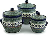 Polish Pottery Set of 3 Jars 10-inch Gingham Flowers