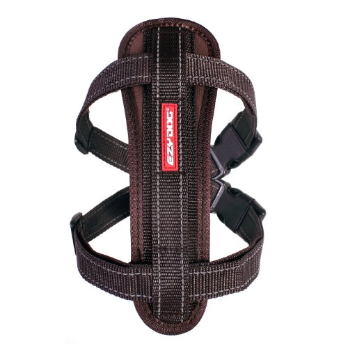 EzyDog Premium Chest Plate Custom Fit Reflective No-Pull Padded Comfort Dog Harness - Perfect for Training, Walking, and Control - Includes Car Restraint Attachment (Large, Chocolate)