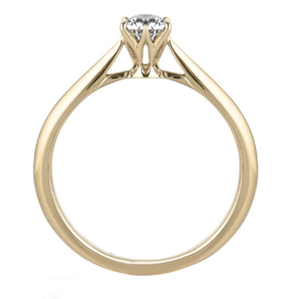 Taiguang Simple Women Six-Claw Cubic Zirconia Engagement Wedding Finger Ring Jewelry - Golden US 10