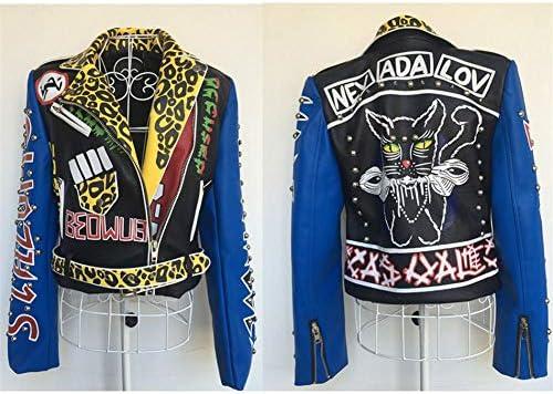WLXFVNYBD Giacca da Donna novità Giacche Stampate da Donna Stile Punk Biker Stile Punk per Donna-S