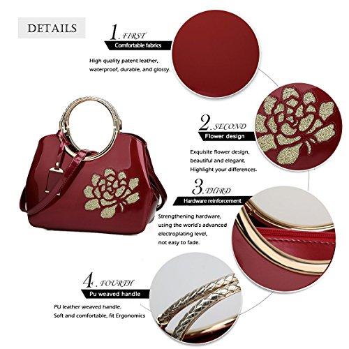 Bags Ladies Black Shoulder Handle Purse Stylish Leather Handbag Handbags Top Flower Tote Burgundy Bags Patent Womens with EP4dqP