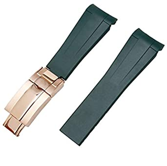 outlet store e1ec8 89e89 [Richie Strap]ロレックス ROLEX ヨットマスター 時計バンド 腕時計ベルト+ 尾錠 用社外品ベルトラバー 取付幅 20mm