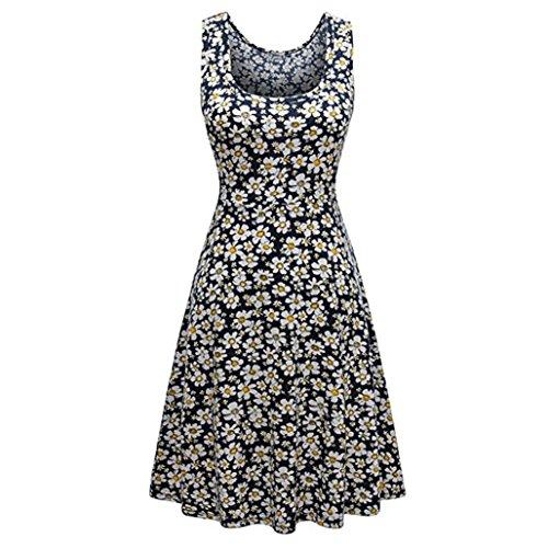 JSPOYOU Plus Size! Womens Sleeveless Printed Tank Dress Beach Bohe Casual Floral Tank Short Mini Dress (L, Black)