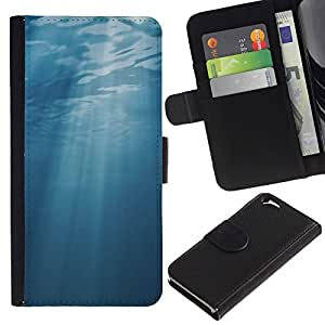 LASTONE PHONE CASE / Lujo Billetera de Cuero Caso del tirón Titular de la tarjeta Flip Carcasa Funda para Apple Iphone 6 4.7 / Light Blue Sea Underwater Sun