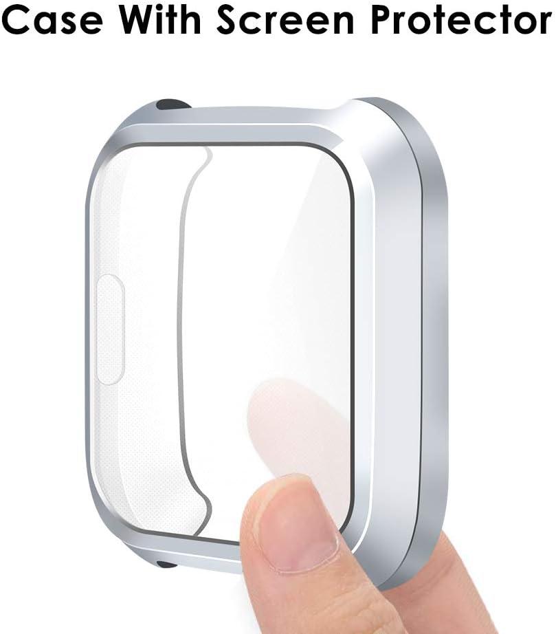 Bleu//Clair//Noir Pas pour Fitbit Versa//Versa 2 Couverture Totale TPU Cas Protecteur D/écran , 3 Paquet KIMILAR Coque Compatible avec Fitbit Versa Lite Protecteur D/écran Coque Silicone