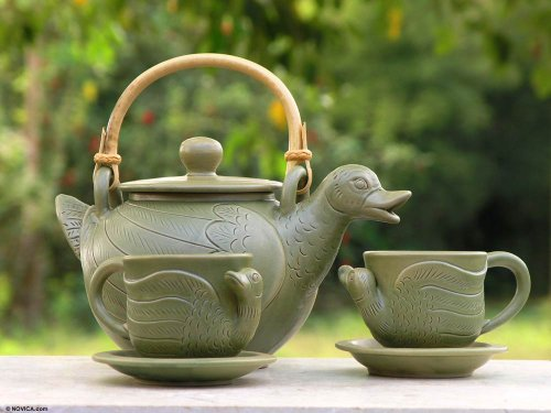 NOVICA Artisan Crafted Ceramic Tea Set, Green, 6 oz, 'Duck Family' (Set for 2) by NOVICA