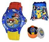 Unisex Silicone Quartz Analog Wrist Watch for Children & Drawstring Gym/School/Shoes Bag