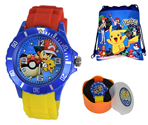 (Unisex Silicone Quartz Analog Wrist Watch for Children & Drawstring Gym/School/Shoes Bag)