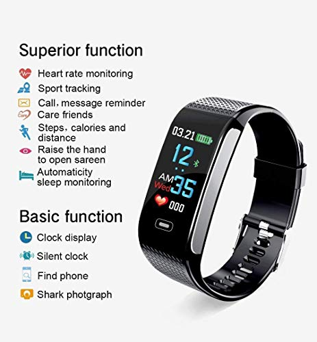 Smart Wristbands Watch Fitness Tracker Blood Pressure Heart Rate Monitor IP67 Waterproof Fitness Tracker Pedometer Sport Bracelet (Black) … by Verna (Image #2)