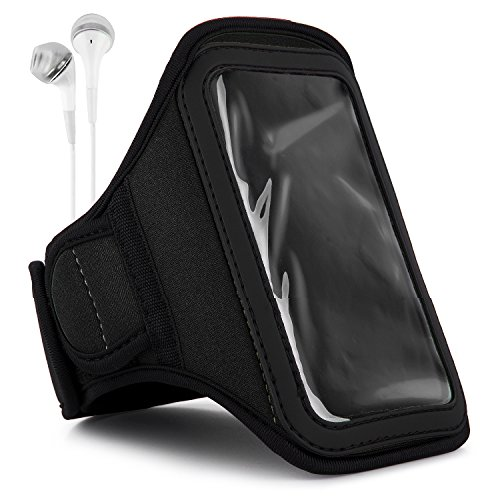 Vangoddy Jet Black Sweat-Proof Fitness Exercise Workout Armband and in-Ear Headphones for Samsung Galaxy Avant, S5 Mini, Ace 4, Core LTE