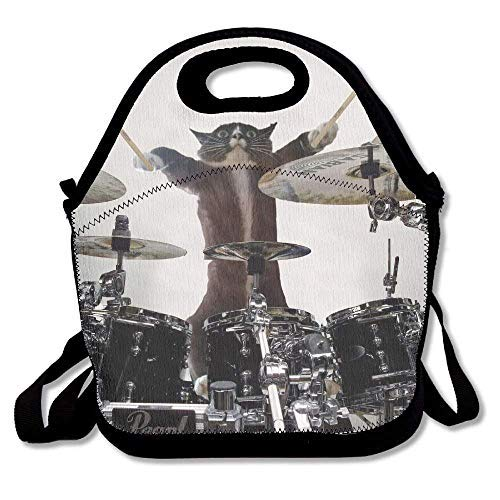 Funny Drummer Cat Modern Neoprene Lunch Bags with Shoulder Strap Lunch Box Tote Bag for Women for Girls for Kids Back to School Gifts