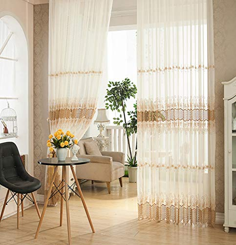 - ABCWOO Elegance Sheer Voile Window Curtain Rod Pocket Floral Jacquard Hollowed Mesh Tulle Curtain Panel for Living Room(1 Panel, W 50 x L 63 inch, White)