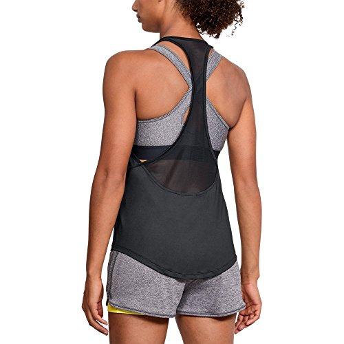 Under Armour Women's HeatGear mesh Back Tank, Black (001)/Metallic Silver, XX-Large (Sleeveless Tech Armour Tee Under)