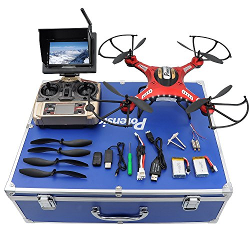 Drone with HD Camera, Potensic F183DH Drone RC Quadcopter RTF Altitude Hold UFO with Newest Stepless-speed Function,2MP Camera& 5.8Ghz FPV LCD Screen Monitor & Drone Carrying Case - Red