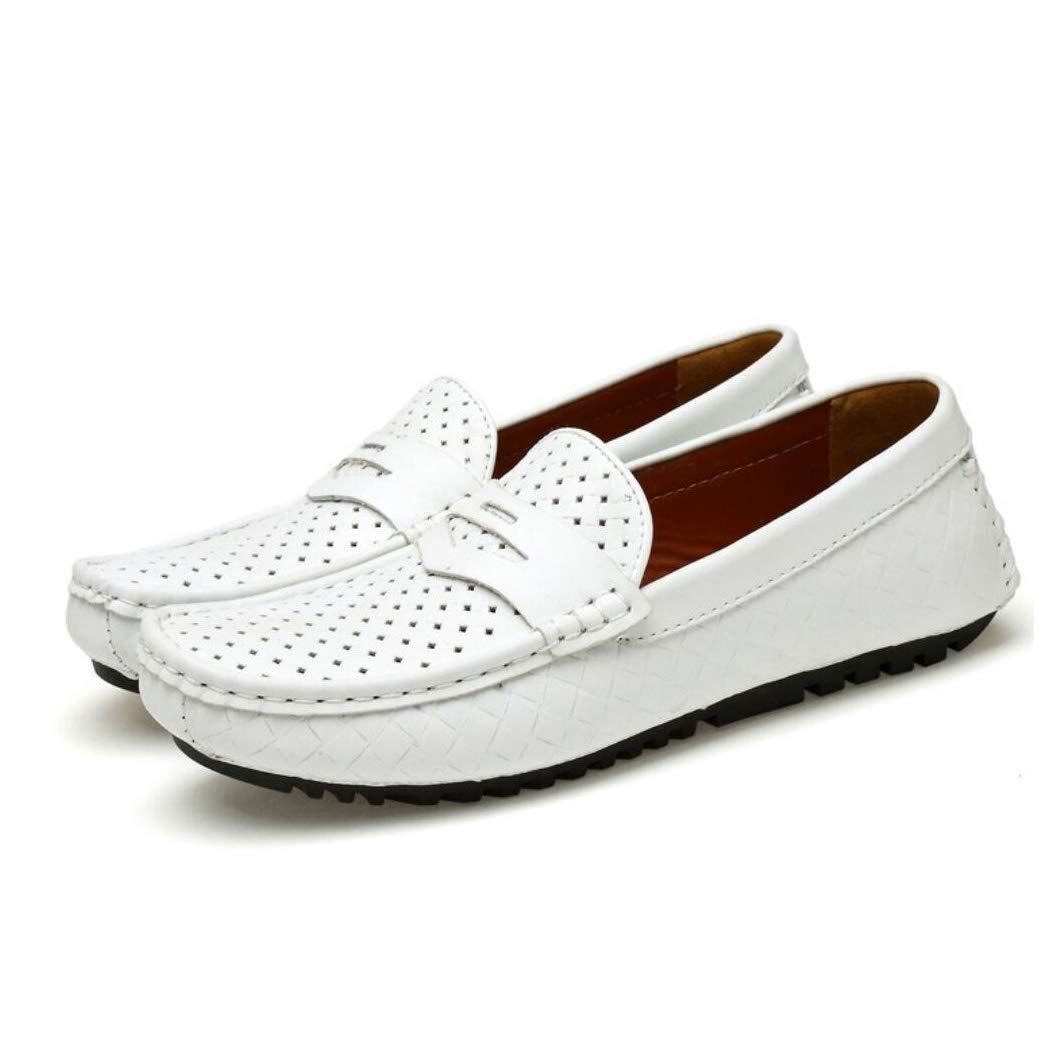 Herren Leder Frühling Komfort Loafers & Slip-Ons, Hohlen Atmungsaktive Peas Peas Peas Schuhe, Koreanische Mode Herren Casual Fahr Schuhe (Farbe   D, Größe   44) d98b81