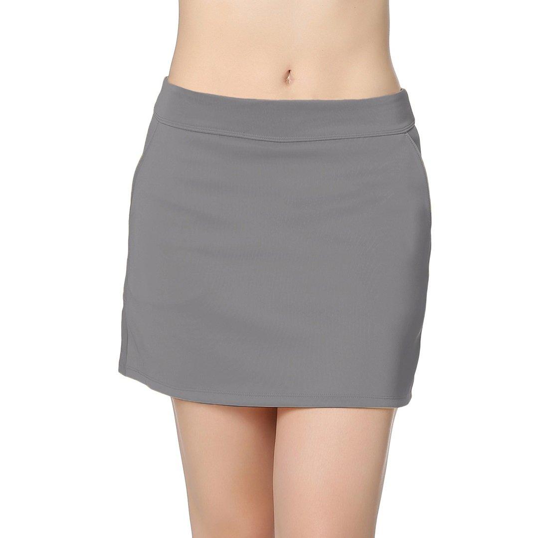 Honour Fashion Women's Elastic Pleated Golf Skort With Pockets(Grey,XS)