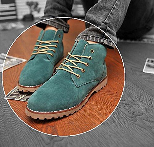 SODIAL (R) Nueva moda britanicos para hombre Casual de encaje gamuza Botines Mocasines Zapatillas de deporte Verde ( Tamano:42 )