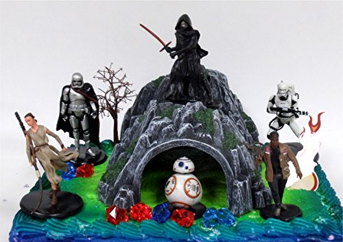 STAR WARS 22 Piece Birthday Cake Topper Featuring 6 Star Wars Figures and Decorative Themed (Star Wars Cake Toppers)