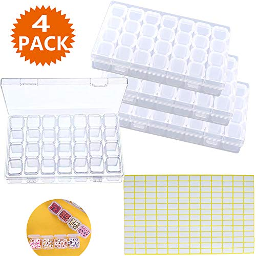 4PCS 28 Slots 5D Diamond Embroidery Painting Boxes,Bead Jewelry Storage Organizer Box with 168pcs Craft Label Marker Stickers