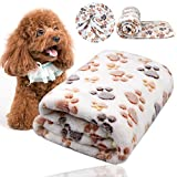 Comsmart Puppy Blanket Warm Dog Cat Flannel Blankets Mat Bed Cover with Paw Print Soft for Kitties Puppies and Other Small Animals (White)