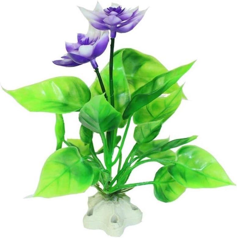 SSN Adorno para Acuario Plantas Artificiales Decoración De Acuario De Plástico Simulación Flor De Loto Hierba De Agua para Tanque De Tortuga Decoración para Acuario (Color : Púrpura)