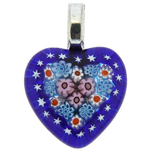 GlassOfVenice Murano Glass Millefiori Heart Pendant Medium - Navy Blue